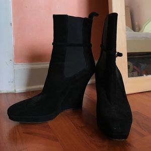 Gucci Black Wedge Booties